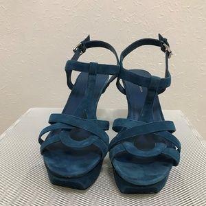 BCBG Blue Suede Heels
